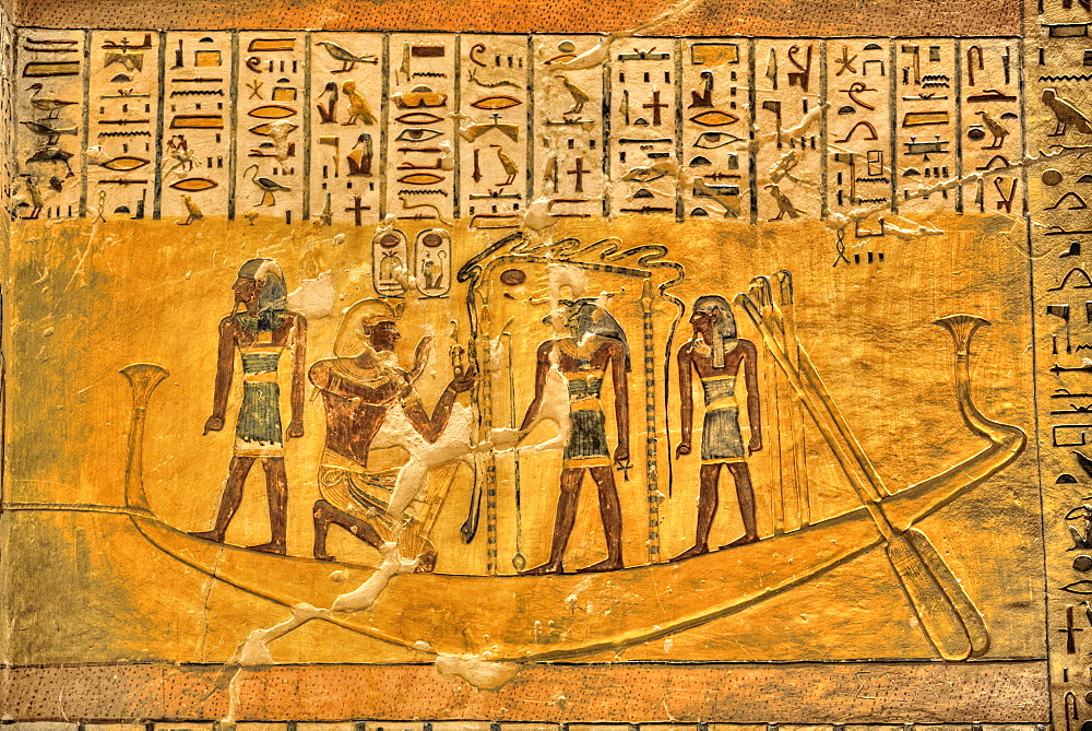 Murals, Tomb of Ramses IV, KV2, Valley of the Kings, UNESCO World Heritage Site, Luxor, Egypt