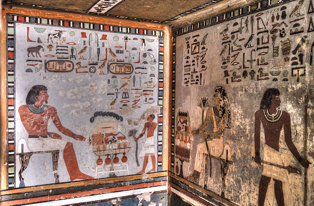 Fresco of Sirenput II with Wife And Son, In Tomb Recess, Tomb of Sirenput II, Tombs of the Nobles, Aswan, Egypt