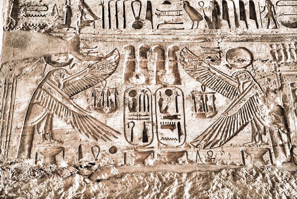 Relief of Vultures, Temple of Ramses III, Karnak Temple Complex, UNESCO World Heritage Site, Luxor, Thebes, Egypt, North Africa, Africa
