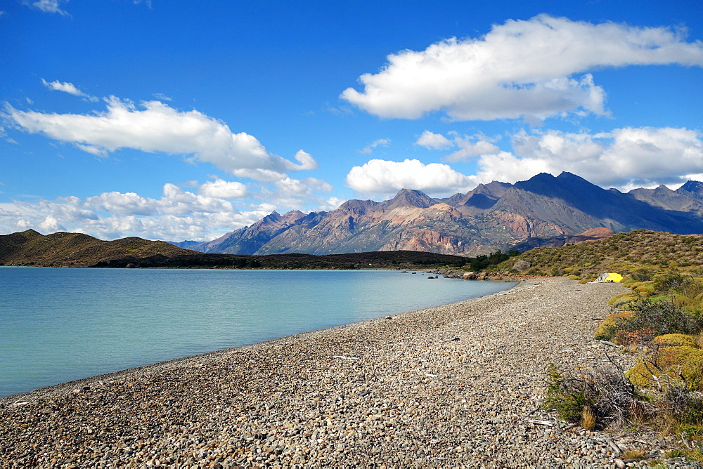 Camping on the shores of Lago Viedma, Argentine Patagonia, Argentina, South America