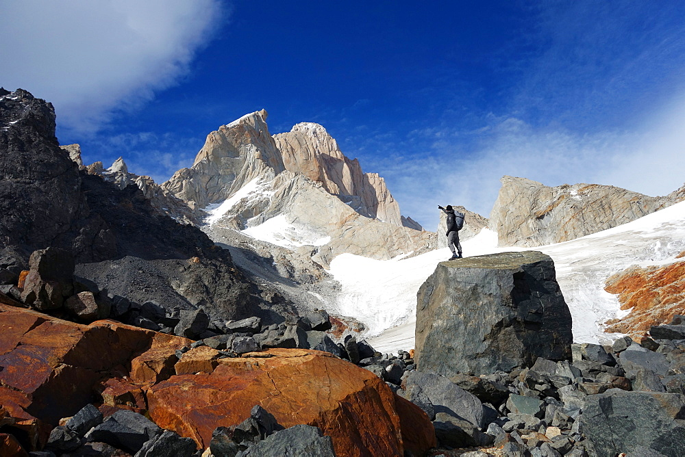 Looking up towards Monte Fitz Roy, El Chalten Massif, Argentine Patagonia, Argentina, South America