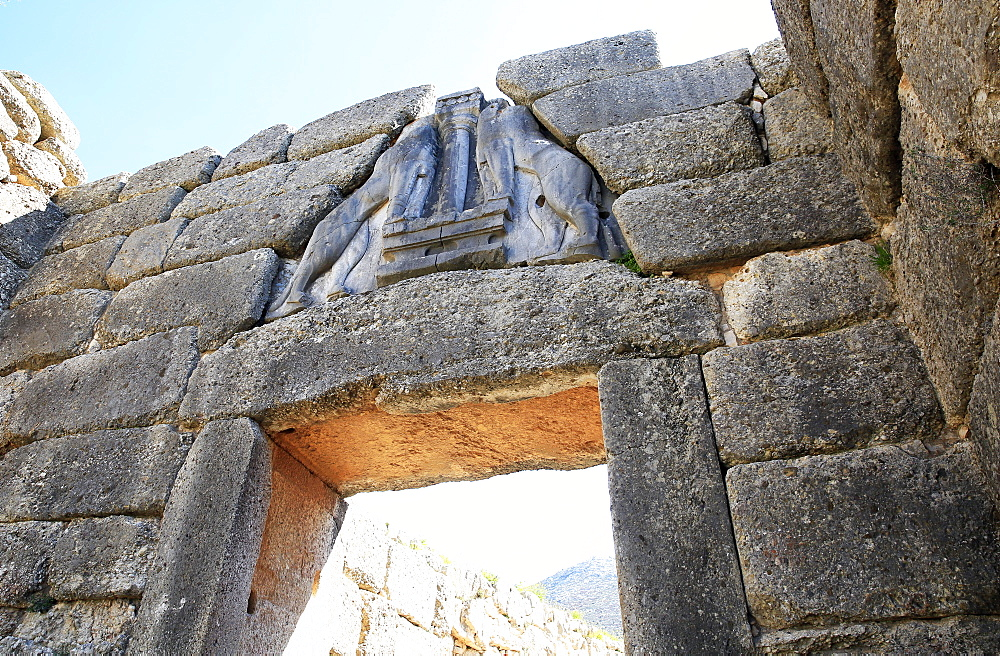 The Lions' Gate in the ruins of the ancient city of Mycenae, UNESCO World Heritage Site, Peloponnese, Greece, Europe