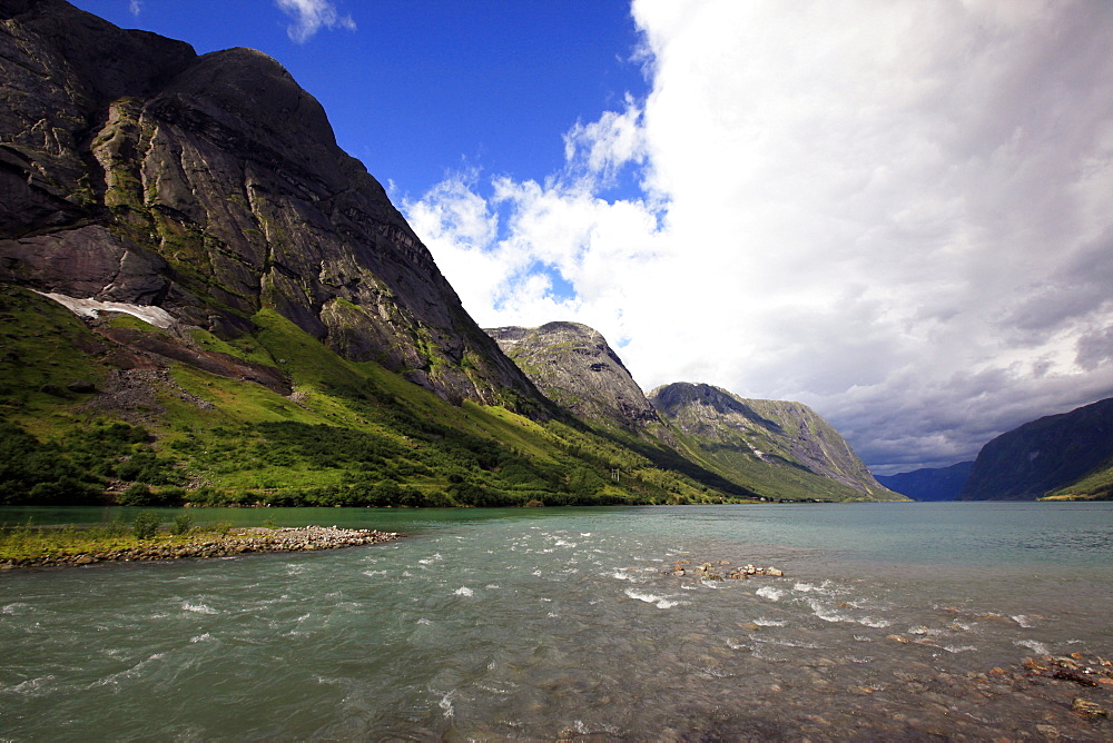A fjord in the Fjordland region, western Norway, Scandinavia, Europe - 802-351