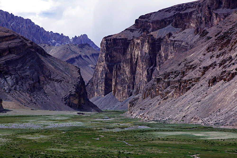 The entrance to a remote canyon high on the plateau of southeast Ladakh, Himalayas, India, Asia