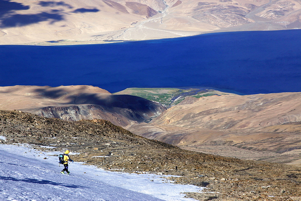 Descending from the summit of Mentok II, 6200m, above Tso Mori Lake Ladakh, India, Asia