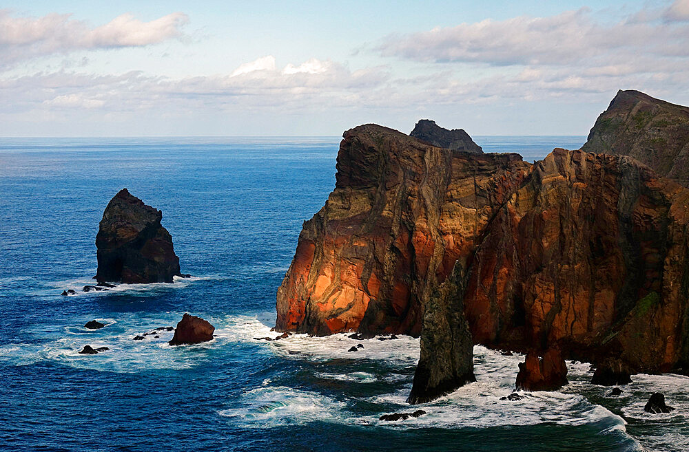 The dramatic sea cliffs of the Sao Lourenco peninsula, eastern Madeira, Portugal