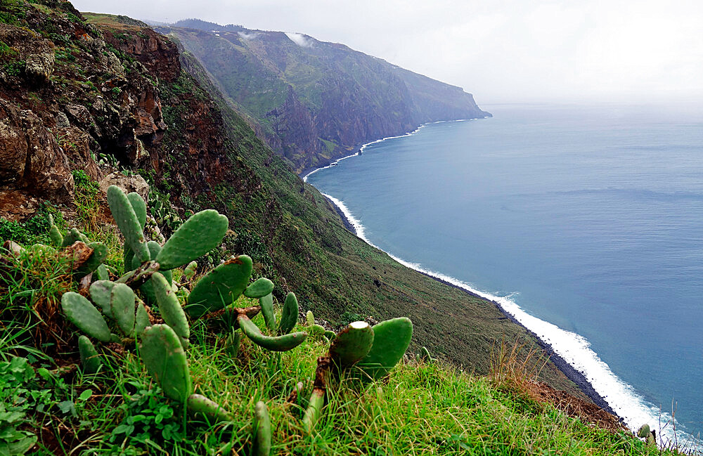 Looking south from the Ponta do Pargo lighthouse, the most westerly point of Madeira, Portugal, Atlantic Ocean, Europe