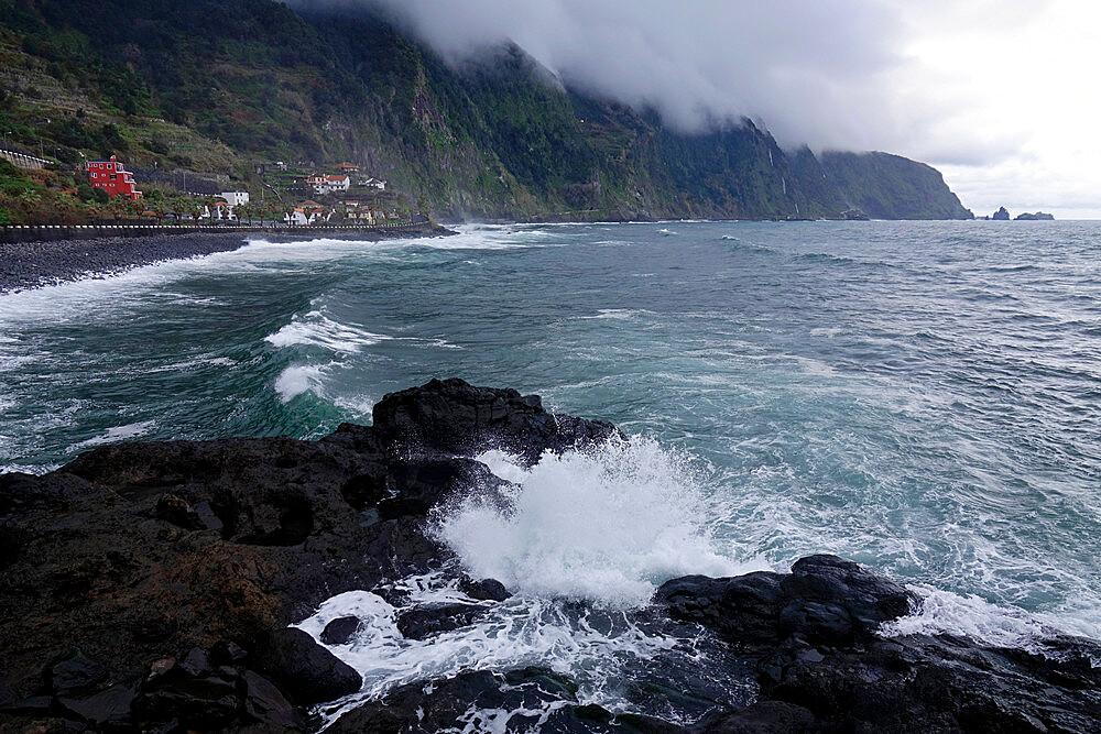 The wild coastline near Seixal, northwest Madeira, Portugal