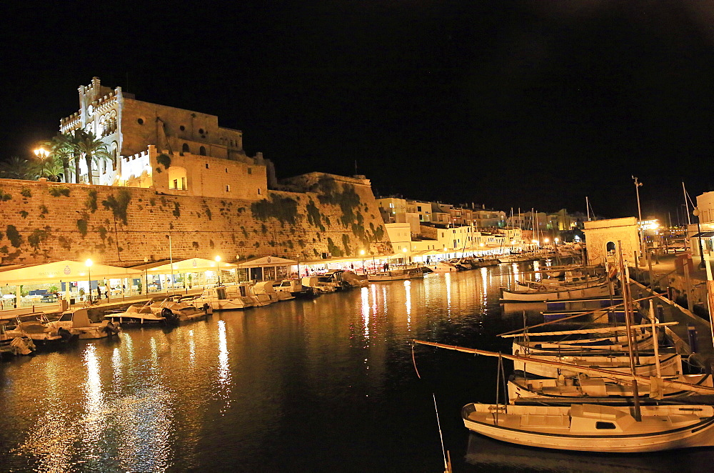 Ciutadella by night, Menorca, Balearic Islands, Spain, Mediterranean, Europe - 802-448