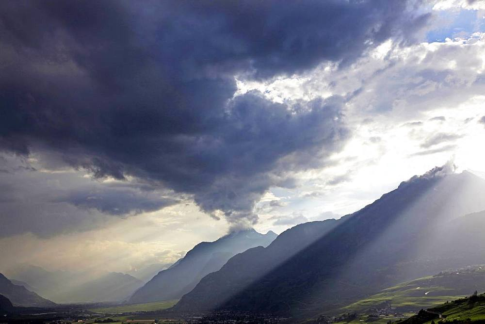 Summer storm over the mountains of Valais, Swiss Alps, Switzerland, Europe - 802-460