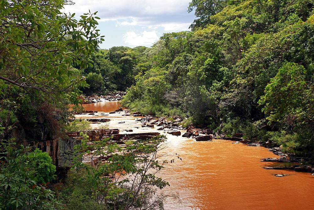 River in spate at Serra do Cipo, Minas Gerais, Brazil, South America