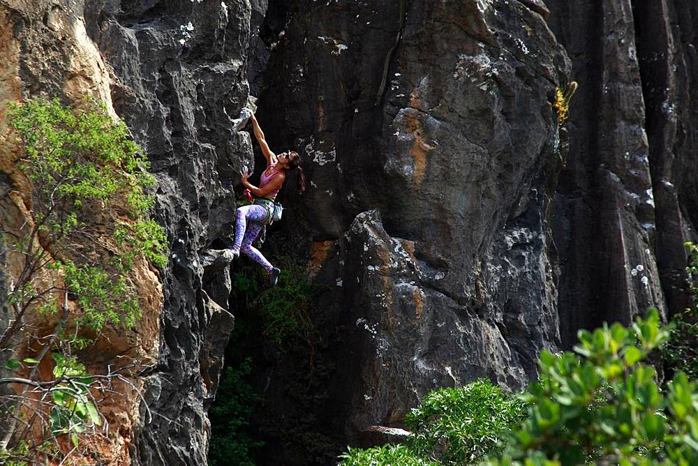 Rock climber in action, Serra do Cipo, Minas Gerais, Brazil, South America - 802-471