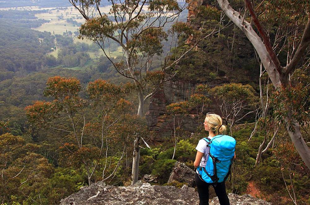 A woman hiking in the Blue Mountains, New South Wales
