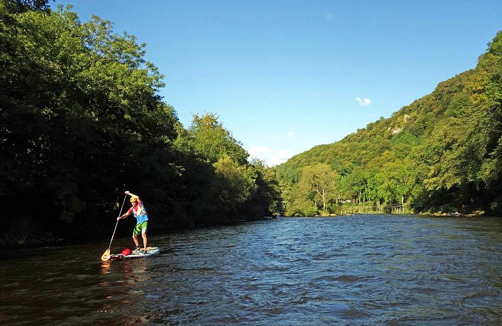 Paddle boarder on the River Wye at Symonds Yat, border of Herefordshire and Gloucestershire, England, United Kingdom, Europe