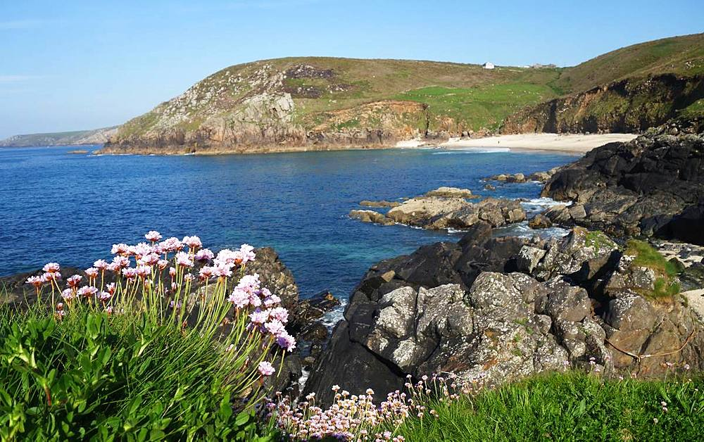 Portheras Cove, one of England's wildest beaches, West Penwith, Cornwall, England, United Kingdom, Europe - 802-492