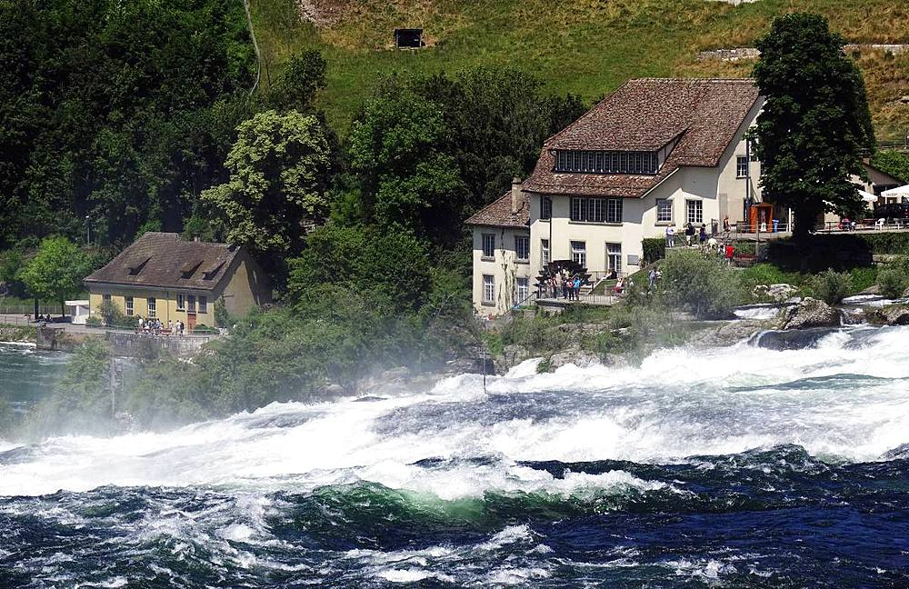 White water on the River Rhine at Rheinfall (Rhine Falls), near Schauffhausen, Switzerland, Europe - 802-496