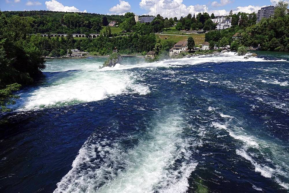 White water on the River Rhine at Rheinfall (Rhine Falls), near Schauffhausen, Switzerland, Europe