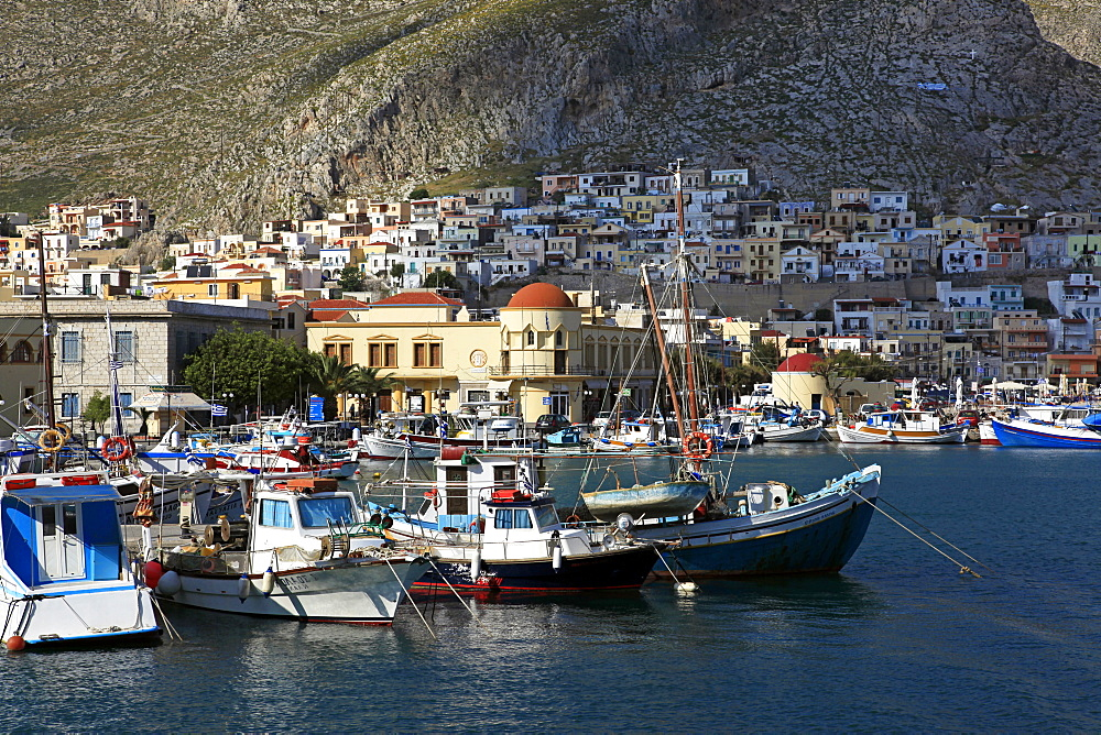 The harbour of Pothia, Kalymnos, Dodecanese, Greek Islands, Greece, Europe - 802-515