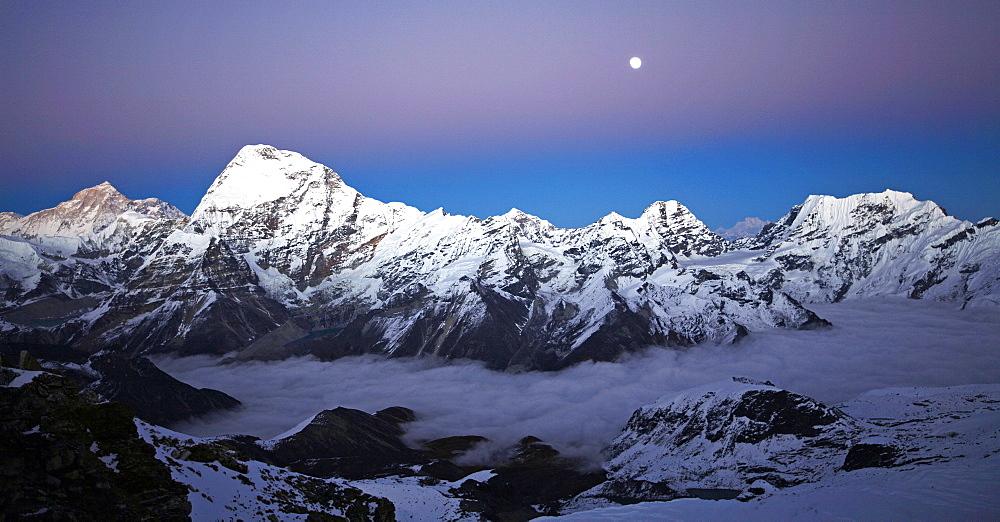 Makalu and Chamlang from Mera Peak, Khumbu, Himalayas, Nepal, Asia - 802-542