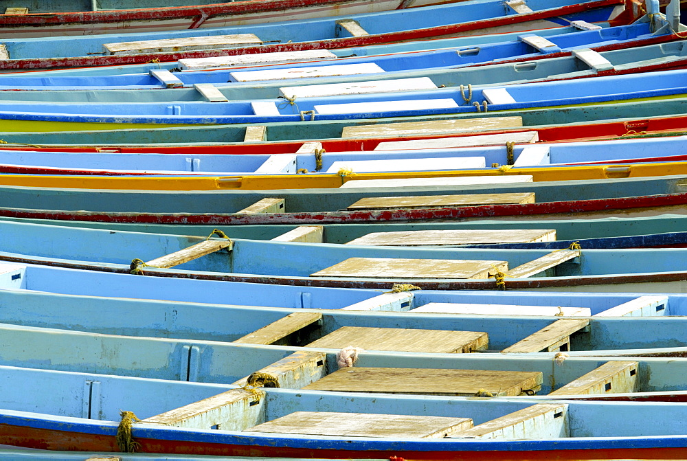 Fishing boats in harbour, coastal area of Vizhinjam, Trivandrum, Kerala, India