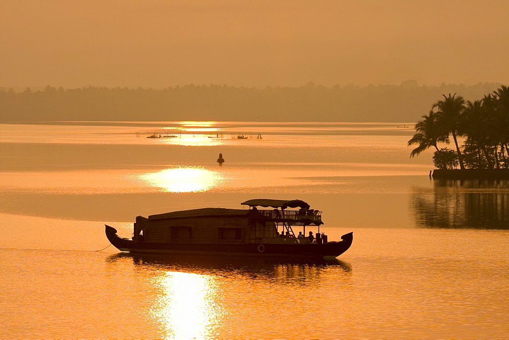 Houseboat at dusk in Ashtamudi Lake, Kollam, Kerala, India, Asia - 804-297