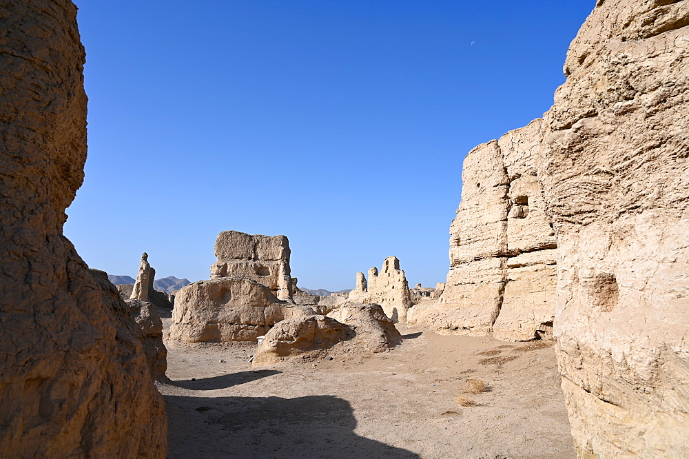 Ruins of Jiaohe Silk Road city, ancient capital of Turfan, Xinjiang Uyghur Autonomous Region, China, Asia