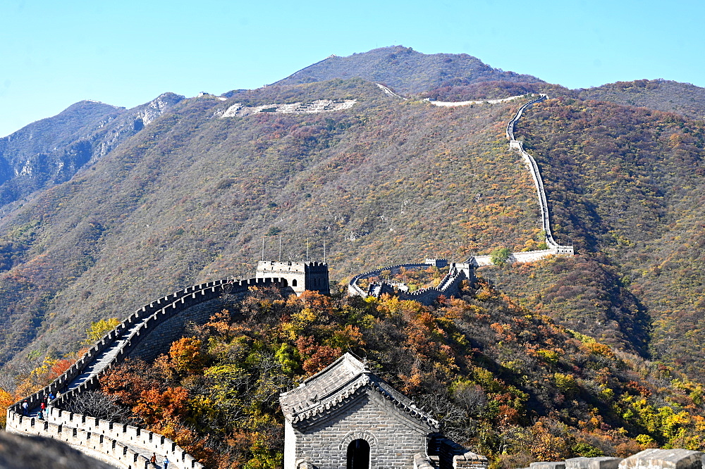 Great Wall of China, Mutianyu section, looking west towards Jiankou, UNESCO World Heritage Site, Beijing, China, Asia