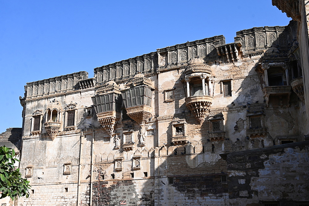 Facade of beautiful 18th century Aina Mahal, badly damaged in the 2001 earthquake, Bhuj, Gujarat, India, Asia
