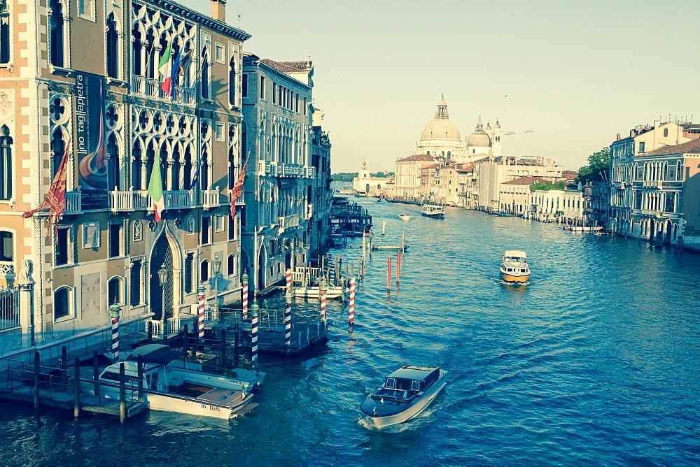 The Grand Canal and the domed Santa Maria Della Salute, Venice, UNESCO World Heritage Site, Veneto, Italy, Europe