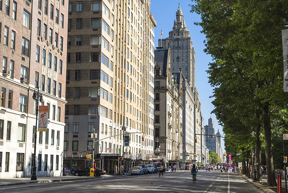 Central Park West, closed to traffic for an event, Manhattan, New York City, New York, United States of America, North America