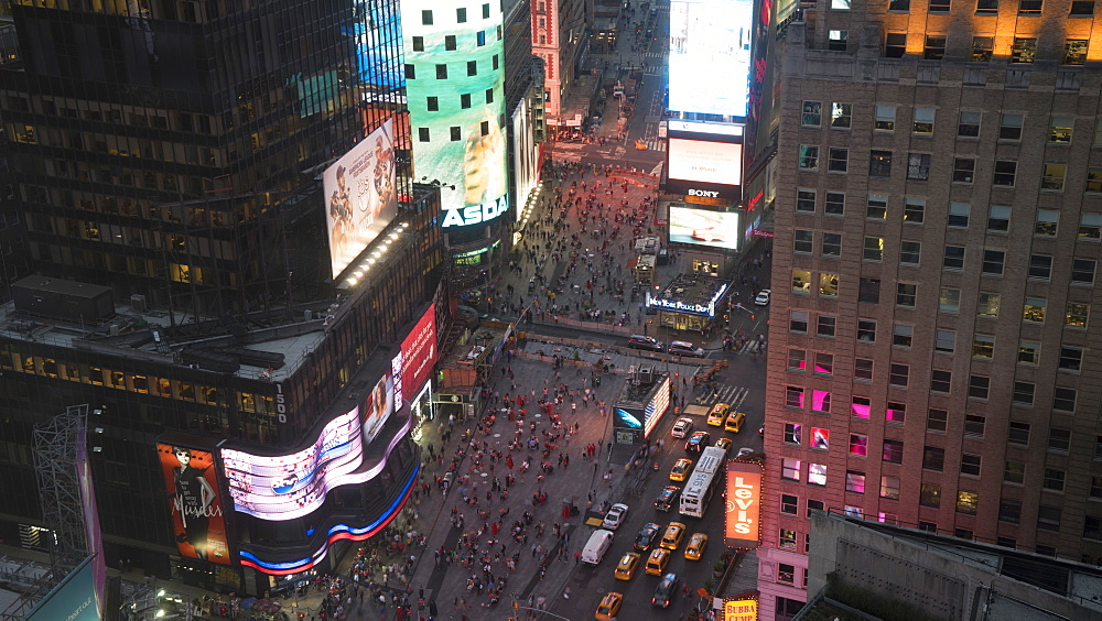 High angle view of Times Square at dusk, Theatre District, Midtown, Manhattan, New York City, New York, United States of America, North America
