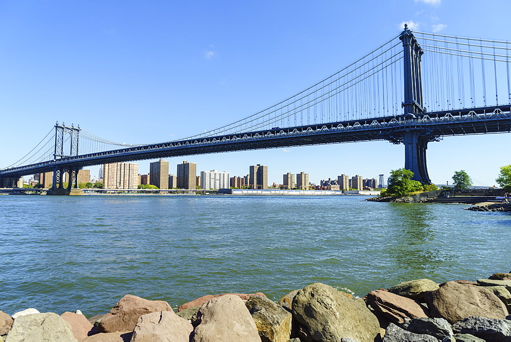 Manhattan Bridge spanning the East River, New York City, United States of America, North America