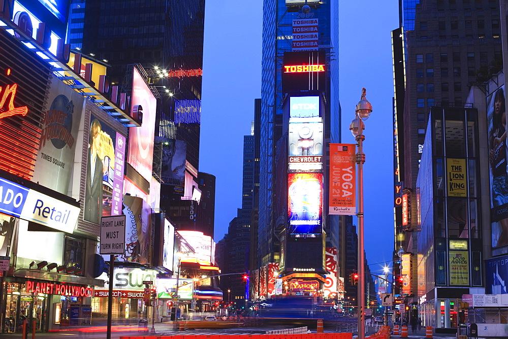 Times Square at dusk, Manhattan, New York City, New York, United States of America, North America - 808-179