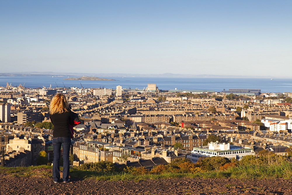 View towards Leith and the Firth of Forth from Calton Hill, Edinburgh, Lothian, Scotland, United Kingdom, Europe