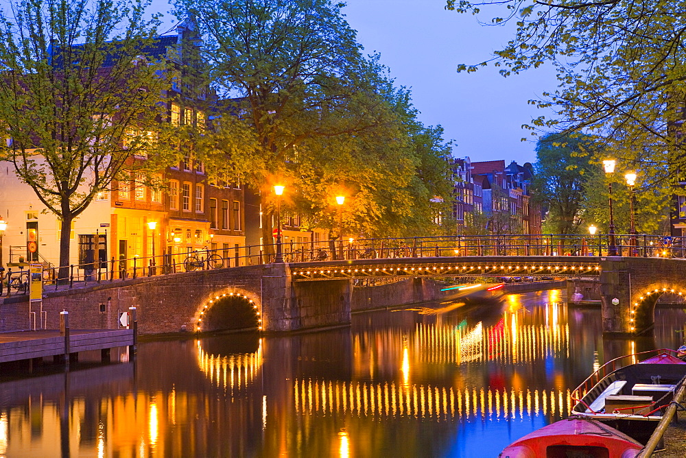 Brouwersgracht at dusk, Amsterdam, Netherlands, Europe