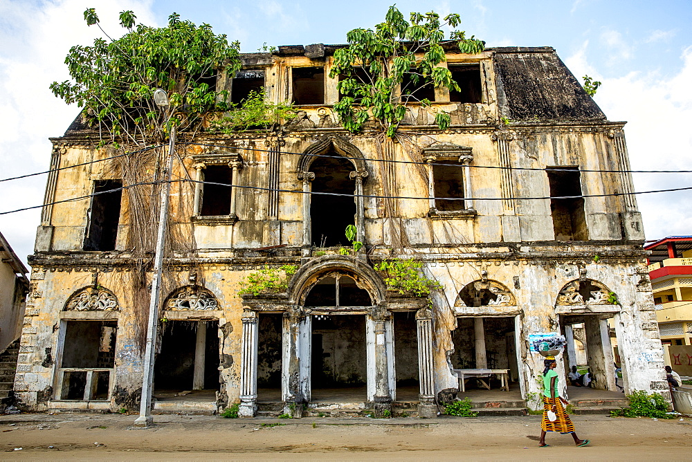 Rundown colonial house in Grand Bassam, Ivory Coast.