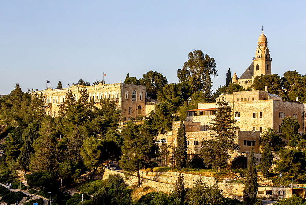 Area around the Dormition Abbey on Mount Zion, Jerusalem, Israel, Middle East - 809-7619
