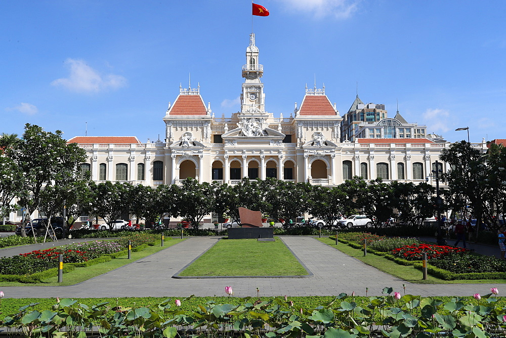 District 1. Ho Chi Minh city town hall and garden. Colonial French construction. Ho Chi Minh City. Vietnam.