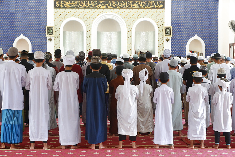 Masjid Ar-Rohmah Mosque, men at the Friday prayer (salat), Chau Doc, Vietnam, Indochina, Southeast Asia, Asia