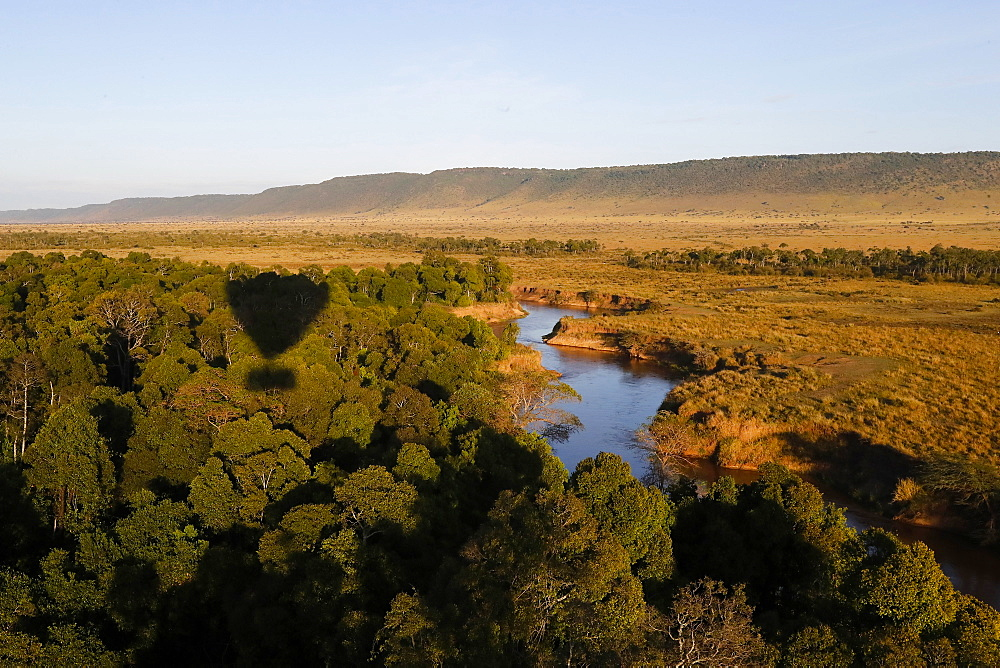 A view of the meandering course of the Mara River through the National Reserve from a hot air balloon. Kenya.