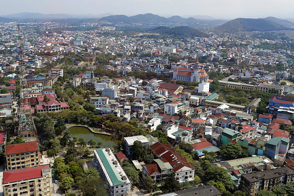 High angle view of buildings, Hue, Vietnam, Indochina, Southeast Asia, Asia