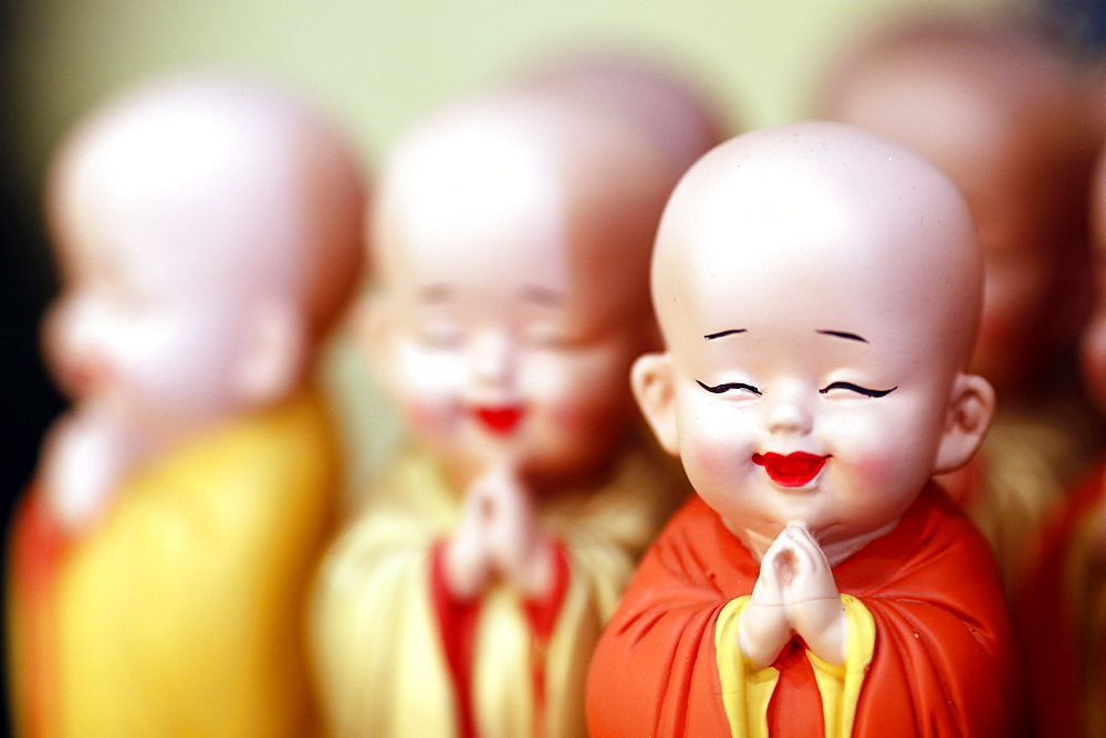 Buddhist monk figurines, Ho Chi Minh City, Vietnam, Indochina, Southeast Asia, Asia
