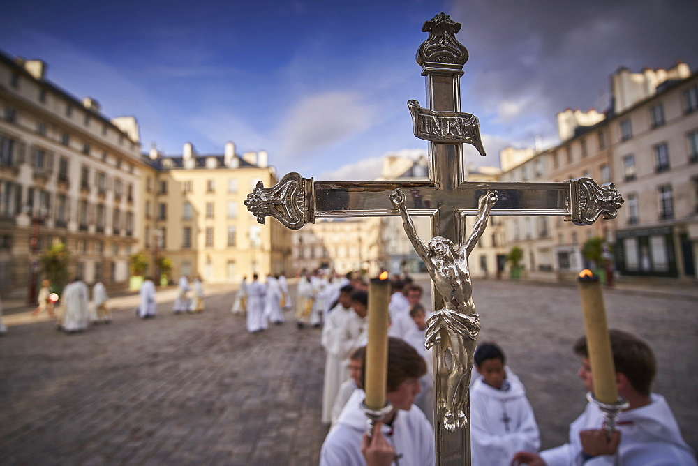 Entry procession, Deacon Ordinations in St. Louis Cathedral, Versailles, Yvelines, France, Europe