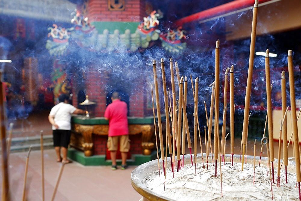 Incense sticks burning, Guan Di Chinese Taoist Temple, Kuala Lumpur, Malaysia, Southeast Asia, Asia