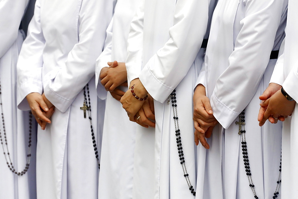 Close-up on hands and rosary, Dominican sisters, Bien Hoa, Vietnam, Indochina, Southeast Asia, Asia