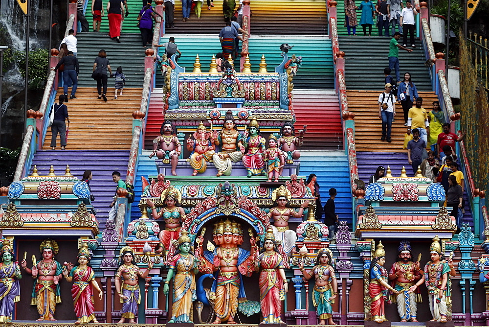 Entrance through the colorful staircase of the Hindu Temple and Shrine of Batu Caves, Kuala Lumpur, Malaysia, Southeast Asia, Asia