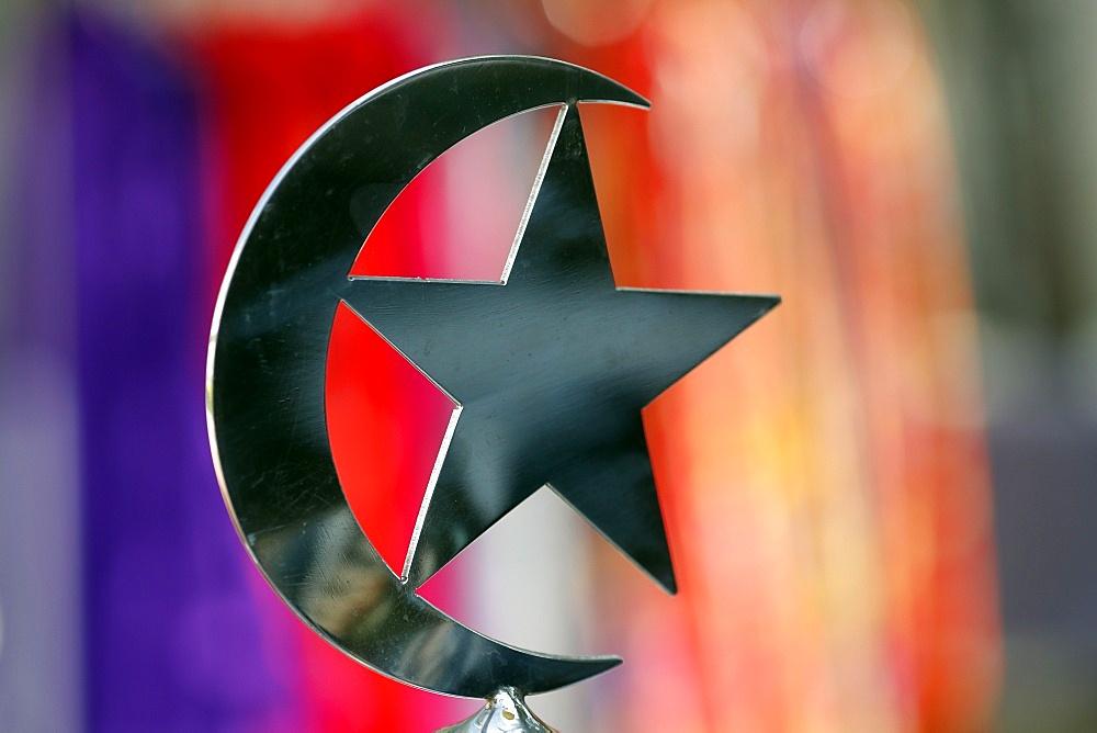 Star and crescent symbol of Islam, Jamek Mosque (Masjid Jamek Sultan Abdul Samad), Kuala Lumpur, Malaysia, Southeast Asia, Asia