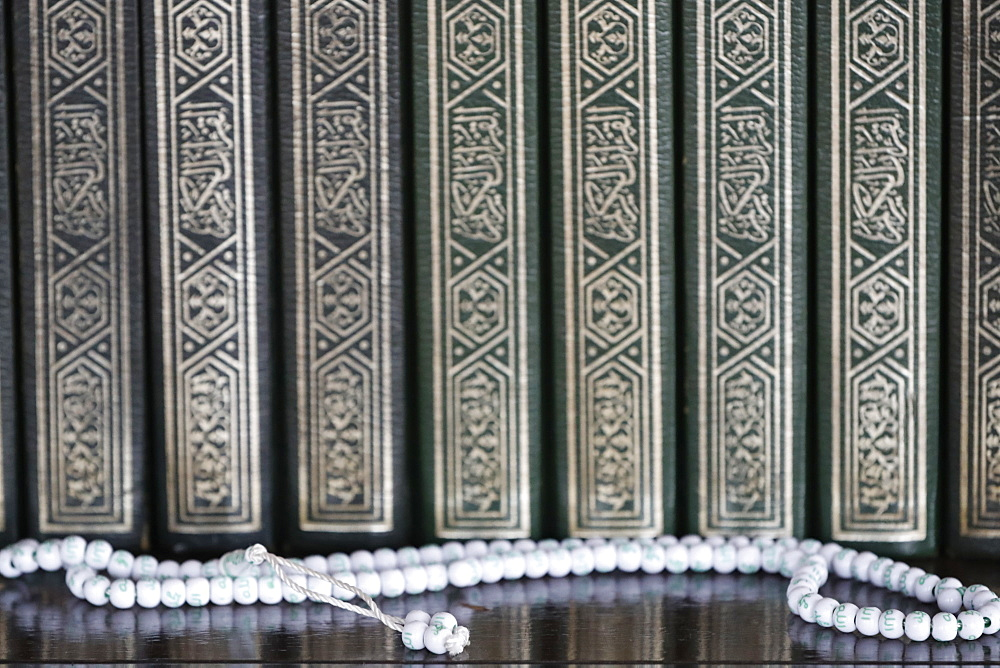 Holy books of Quran and Islamic prayer beads (misbaha), Putra Mosque (Masjid Putra), Putrajaya, Malaysia, Southeast Asia, Asia