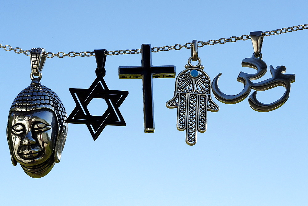 Religious symbols of Christianity, Islam, Judaism, Buddhism and Hinduism, Interfaith dialogue, France, Europe - 809-8086