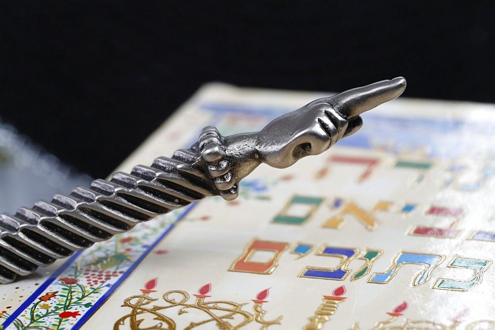 A silver Yad Jewish ritual pointer on a Torah, France, Europe - 809-8096